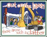 Excavator out on the lawn holiday greeting card