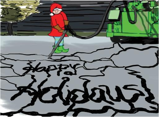 Asphalt crack sealing holidays Christmas card