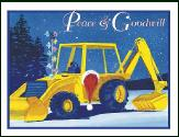 Backhoe at night holiday greeting card