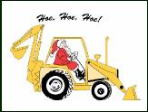Hoe Hoe Hoe backhoe with Santa holiday greeting card