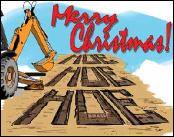 Excavator buckets toasting Backhoe Hoe Hoe Hoe Holiday Christmas greeting card