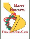 Backhoe hoel gang holiday greeting card