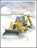 Backhoe hoe in snow scene holiday greeting card