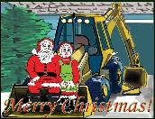 Backhoe Santa/Mrs Photo holiday greeting card