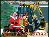 Backhoe Santa and Mrs. Santa holiday greeting card