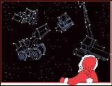 Backhoe constellations holiday greeting card