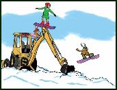 Backhoe snowboarders holiday greeting card