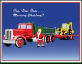 Backhoe with dump truck and trailer holiday greeting card