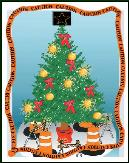 Traffic safety barrier tree holiday greeting card