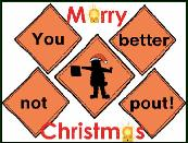 Traffic safety signs better not pout holiday greeting card