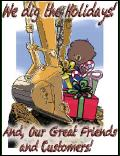 BACKHOE BUCKET PENCIL DRAWING holiday greeting card