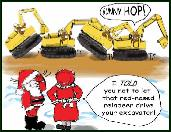 Bunny hot excavator holiday greeting card