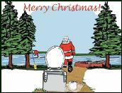 Santa and river groover holiday greeting card