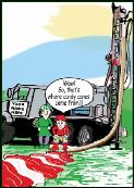 Candy cane well driller holiday greeting card