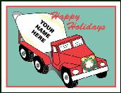 Concrete mixer holiday greeting card