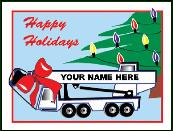 Crane with name on boom Holiday greeting card
