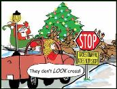 Cross traffic signs holiday greeting card