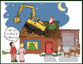 Excavator delivered to roof holiday greeting card