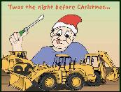 Elf repairing construction equipment holiday greeting card