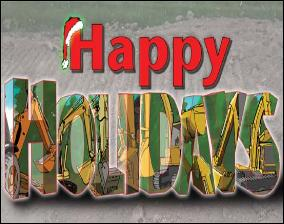 HOLIDAY W/EXCAVATORS/BACKHOES Holiday Christmas Greeting Card