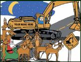Excavator crossing holiday greeting card