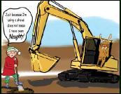 Excavator & Naughty digger Christmas greeting card