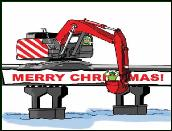 Excavator on bridge holiday greeting card