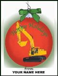 Excavator ornament holiday greeting card