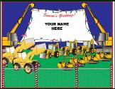 Excavators hold banner holiday greeting card