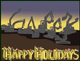 Excavators spell happy holiday greeting card