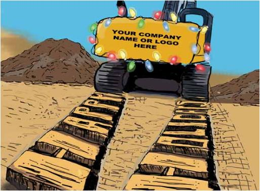 Excavator Tracks Christmas Holiday Greeting Card