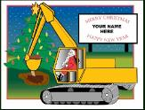 Excavator with sign holiday greeting card