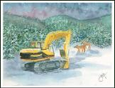 Excavator in snow scene holiday greeting card
