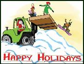 Fork lift with snow boarders holiday greeting card