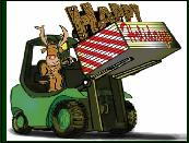 Forklift carrying Holiday words Greeting card