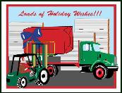 Forklift lifting gift holiday greeting card