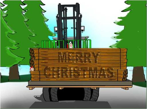 Forklift with Wood GreetingChristmas Holiday Greeting card