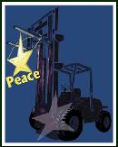 Forklift holding peace star holiday greeting card