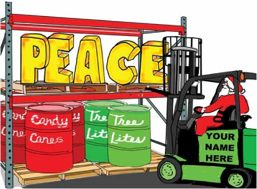 Forklift Lifting Peace Christmas Holiday Greeting card