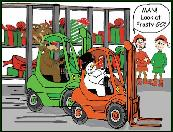 Fork lift race with Frosty holiday greeting card