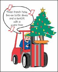 Forklift and spare tree holiday greeting card