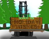 Forklift with wood Holiday Christmas Greeting Card
