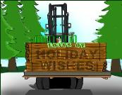 Forklift with gift under tree Holiday Christmas Greeting Card