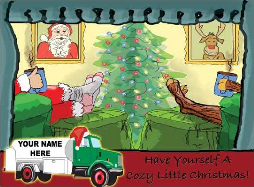 Fuel Oil Truck Cozy Christmas Holiday Greeting Card