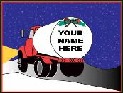 Fuel Propane truck at with name on back holiday greeting card