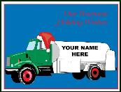 Fuel truck with company name holiday greeting card