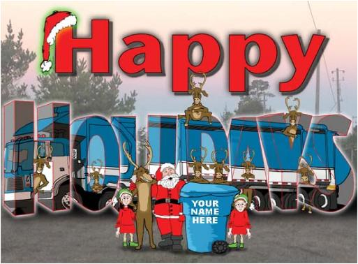 Garbage truck in the holidays Christmas Holiday Greeting card