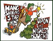 Forklift hang a high star holiday greeting card