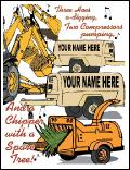 Three backhoes digging holiday greeting card