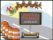 Holidays ahead traffic sign holiday greeting card